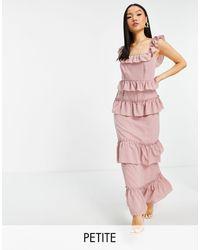 Missguided Розовое Платье Макси С Оборками -розовый Цвет
