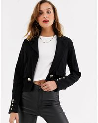 River Island - Cropped Jersey Jacket-black - Lyst