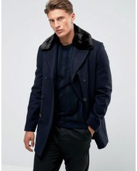 French Connection - Double Breasted Wool Coat With Faux Fur Collar - Lyst
