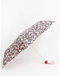 Lulu Guinness - Lulu Guiness Diagonal Stripe Lip Umbrella - Lyst