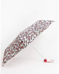 Lulu Guinness Parapluie avec lèvres et rayures diagonales - Noir