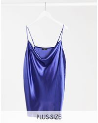 Simply Be Cowl Neck Satin Cami - Blue