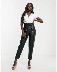 New Look Черные Брюки Из Искусственной Кожи С Присборенной Талией -черный