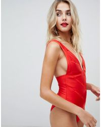 36853b547b ASOS - Weave Detail Bandage Plunge Swimsuit In Red - Lyst