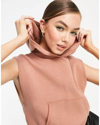 Mango Knitted Sleeveless Hoodie - Pink