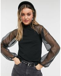 Pieces High Neck Top With Organza Volume Sleeves - Black