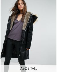 ASOS Parka With Detachable Faux Fur Liner - Black