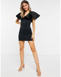 True Violet Plunge Mini Dress With Extreme Frill - Black