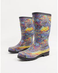 ASOS Stivali da pioggia multicolori con motivo a chiazza di petrolio - Multicolore