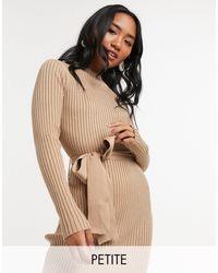 New Look Tie Waist Rib Midi Dress - Brown