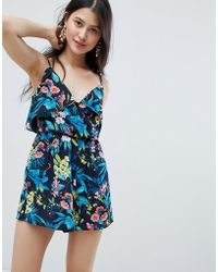 20b340f33e0 Oh My Love - Frilled Layed Cami Playsuit In Floral Print - Lyst