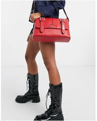 Love Moschino Satchel Bag With Belt Buckle Detail - Red