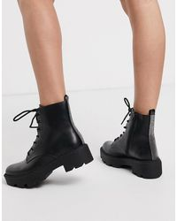 Bershka Lace Front Chunky Boots - Black