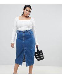 ASOS - Asos Design Curve Denim Midi Skirt With Split Front In Midwash Blue - Lyst