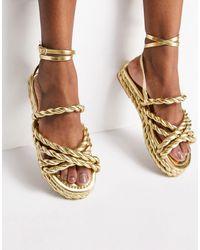 ASOS Franky Rope Flat Sandals - Metallic