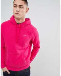 Hollister - Icon Logo Hoodie In Bright Pink - Lyst