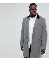 ASOS - Asos Plus Wool Mix Overcoat In Herringbone With Velvet Collar - Lyst