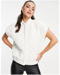 Vero Moda Aware Quilted Gilet With exaggerated Shoulder - White