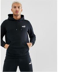 PUMA Essentials - Felpa nera con cappuccio e logo piccolo - Nero