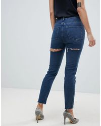 ASOS Recycled Farleigh High Waisted Slim Mom Jeans - Blue