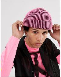 ASOS Bonnet style pêcheur avec côtes bicolores - Rose