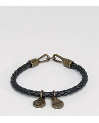 DIESEL - A-santy Leather Charm Bracelet In Black - Lyst