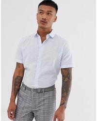 ASOS – Schickes Leinenhemd mit normaler Passform - Blau