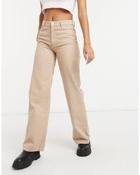 Monki Yoko Organic Cotton Wide Leg Jeans - Natural