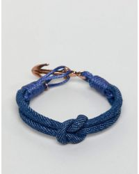 Icon Brand - Navy Cord Bracelet With Antique Gold Anchor - Lyst
