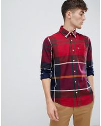 Barbour Dunoon Slim Fit Exploded Check Shirt In Red