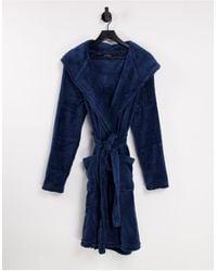 Brave Soul Fleece Robe With Hood - Blue