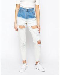 Good Vibes, Bad Daze - Good Vibes Bad Daze Ripped High Waisted Dip Dye Boyfriend Jeans - Lyst