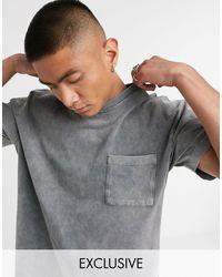 Reclaimed (vintage) - Inspired - T-shirt con tasca antracite slavato - Lyst