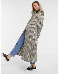 ASOS Check Trench Coat - Brown