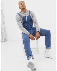BoohooMAN - Slim-fit Tuinbroek In Middenwas Blauw - Lyst