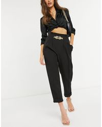 River Island Chain Front Tailored Peg Pants - Black