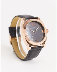 Brave Soul Black Watch With Rose Gold Detail
