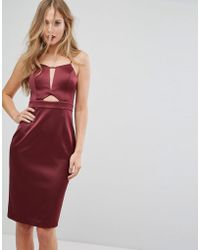 Forever New - Structured Midi Dress In Satin With Cut Out - Lyst