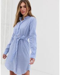 Jack Wills Chelseawood Button Up Shirt Dress In Stripe - Blue