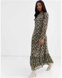 Y.A.S Paisley Maxi Smock Dress With Volume Sleeve - Multicolour