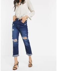 River Island Distressed Mom Jeans - Blue