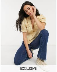 Fashion Union - Эксклюзивная Блузка Горчичного Цвета С Объемными Рукавами И Волнистым Принтом От Комплекта -желтый - Lyst