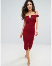 Be Jealous - Bardot Pencil Dress With Front Split - Lyst