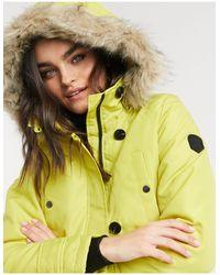 Vero Moda Парка Лаймового Цвета С Искусственным Мехом На Капюшоне -желтый