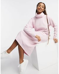 ASOS Super Soft Exposed Seam Jumper Midi Dress With Cowl Neck - Pink