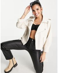Morgan Boxy Leather Look Biker Jacket With Belt Detail - White