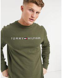 Tommy Hilfiger Lounge-sweatshirt Met Logo Op - Groen