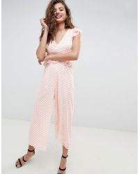 ASOS - Cut Out Jumpsuit With Soft Ruffles In Neon Spot - Lyst