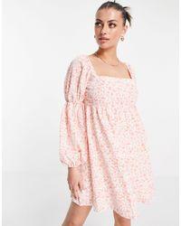 Fashion Union Mini Volume Smock Dress With Puff Sleeves - Pink