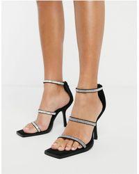 NA-KD Embellished Strappy Heels - Black